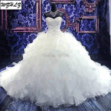 High Quality Cathedral Royal Train Ball Gown Wedding Dress 2017 Sweetheart Beading Lace-up Organza Vestido De Noiva