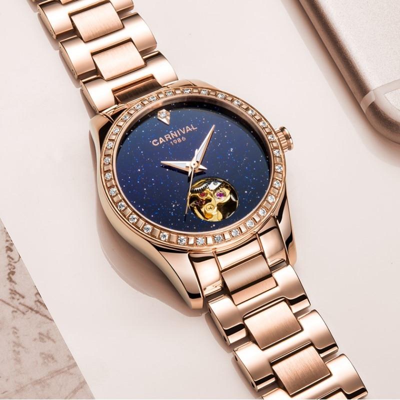 Fashion Skeleton Watch Women 2019 CARNIVAL Mechanical Watch Waterproof Calendar Sapphire Luminous Full Steel Women Watches Gold