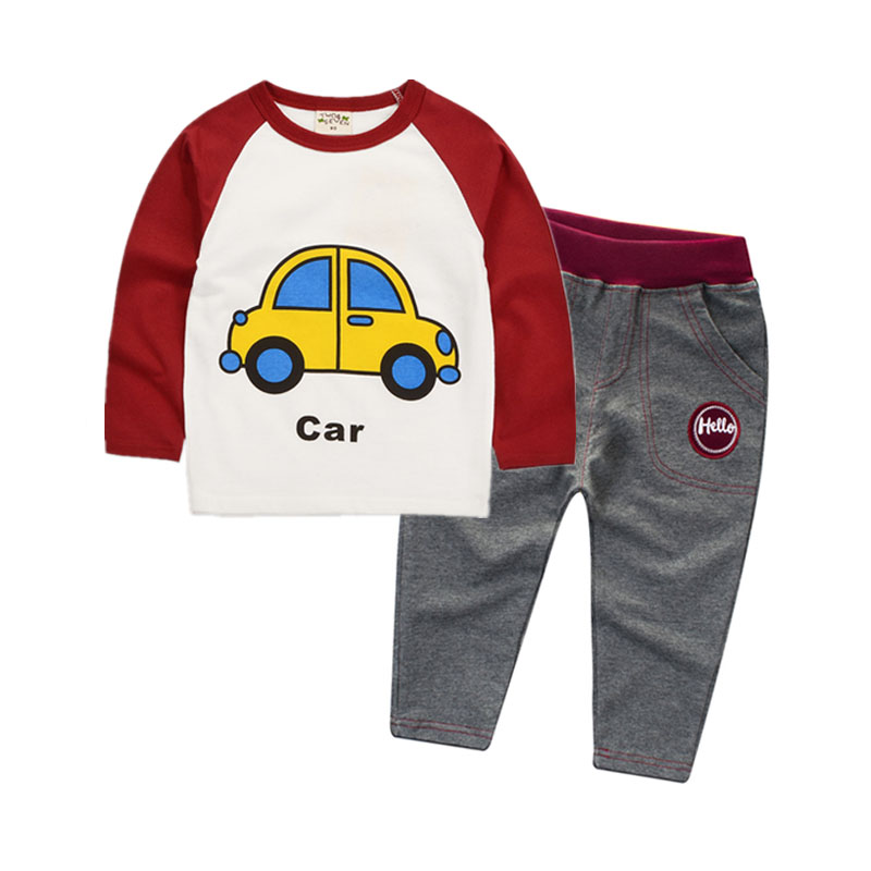 2018 New Red Long Sleeve Cute Suit for Girl Cotton Cars T-Shirts and Trousers Boys Children Tracksuits 2-8y Sports Baby Clothing