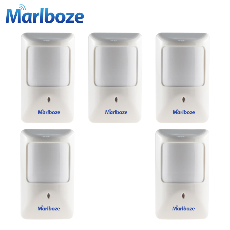Marlboze 5pcs/lot P812 Wired Infrared Motion Detector for Home Security Alarm System Wired PIR sensor work with All Alarm Panel 5pcs marlboze 433mhz wireless smart infrared sensor pir motion detector for pg103 home security wifi gsm 3g gprs alarm system