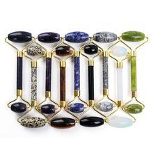 Multicolor Crystal Jade Roller Facial Massager Portable Face Massage Natural Stone Slimming Wrinkle Removal Lifting Tool