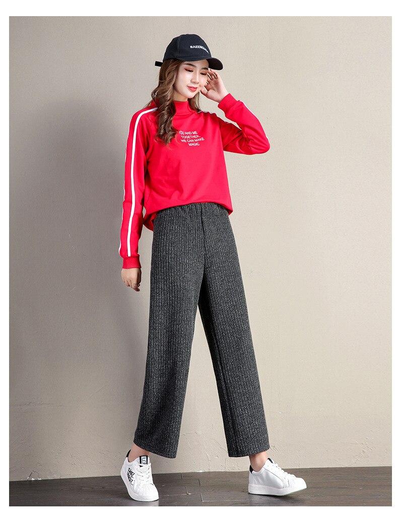 A FAN LANG New Women Autumn Winter Woolen Ankle Length Casual Pants Loose Sweat Pants Trousers Streetwear Woman's Wide Leg Pants 25