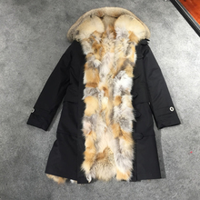 Solid Warm Real Fox Fur Collar Removable Coat Women Winter Real Fox Fur Liner Zipper Jacket With Hat Women Army Bomber Parka