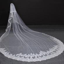 عالية الجودة 5 متر أنيق التألق الترتر الدانتيل حافة 2T طرحة زفاف مع مشط 5 متر طويل فاخر 2 طبقات الحجاب الزفاف