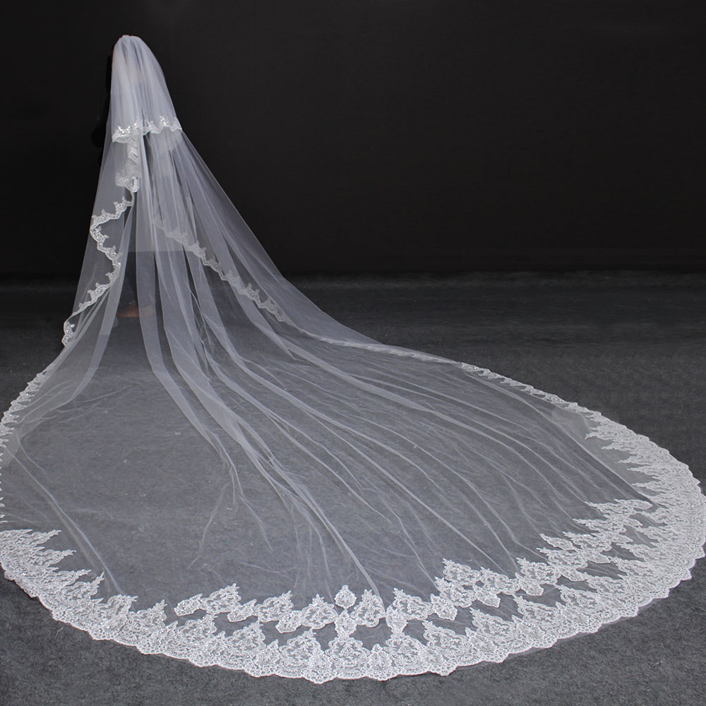 High Quality 5 Meters Neat Sparkle Sequins Lace Edge 2T Wedding Veil With Comb 5M Long Luxury 2 Layers Bridal Veil