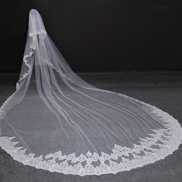 Hohe Qualität 5 Meter Ordentlich Sparkle Pailletten Spitze Rand 2T Hochzeit Schleier mit Kamm 5 M Lange Luxus 2 schichten Braut Schleier