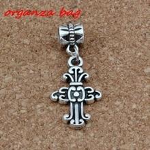 20pcs/lot Dangle Antique Silver Cross Alloy Charm Big Hole Beads Fit European Charm Bracelet Jewelry 14.2x36mm A-276a цена и фото