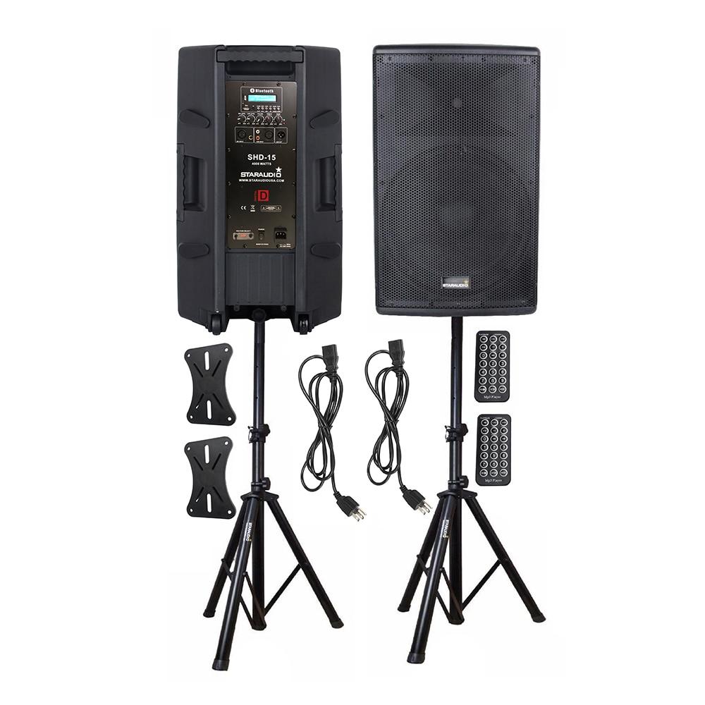 "STARAUDIO Dual 15"" 4000W Powered Active BT USB Speakers PA DJ Karaoke Stage Party Wedding Club 4-Ohm Audio Speaker Stands SHD-15"