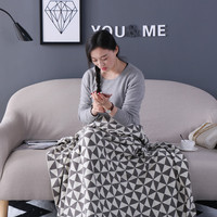 Cotton Linen lattice Knitted Blanket Cover Throw Koc for Sofa Bed Aircondition Rugs Checkerboard Geometric Blankets Bedspreads
