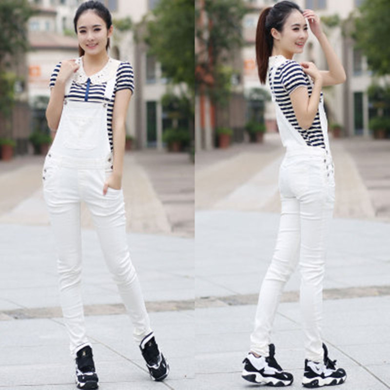 Free Shipping 2018 Fashion White Pants Jumpsuit And Romper For Women Denim Bib Pants Trousers Pencil Pants Skinny Jeans XS-XL стоимость