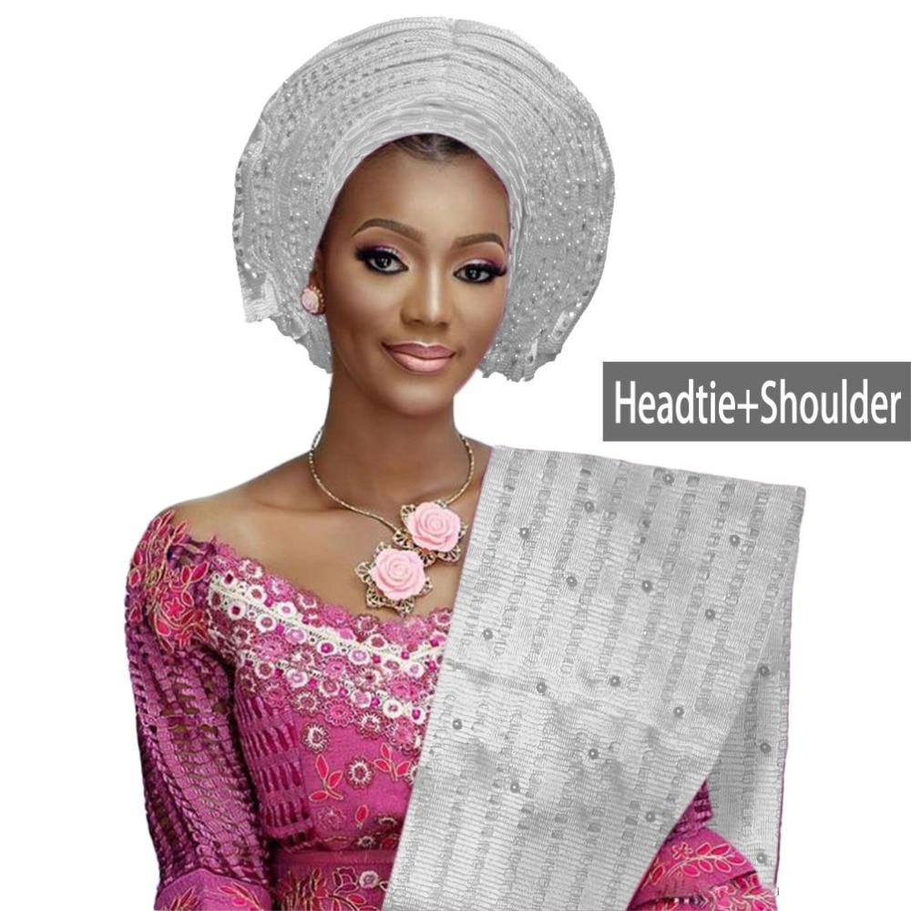 African aso oke gele headtie beaded headwrap Nigerian&African Wedding Party auto gele (5)