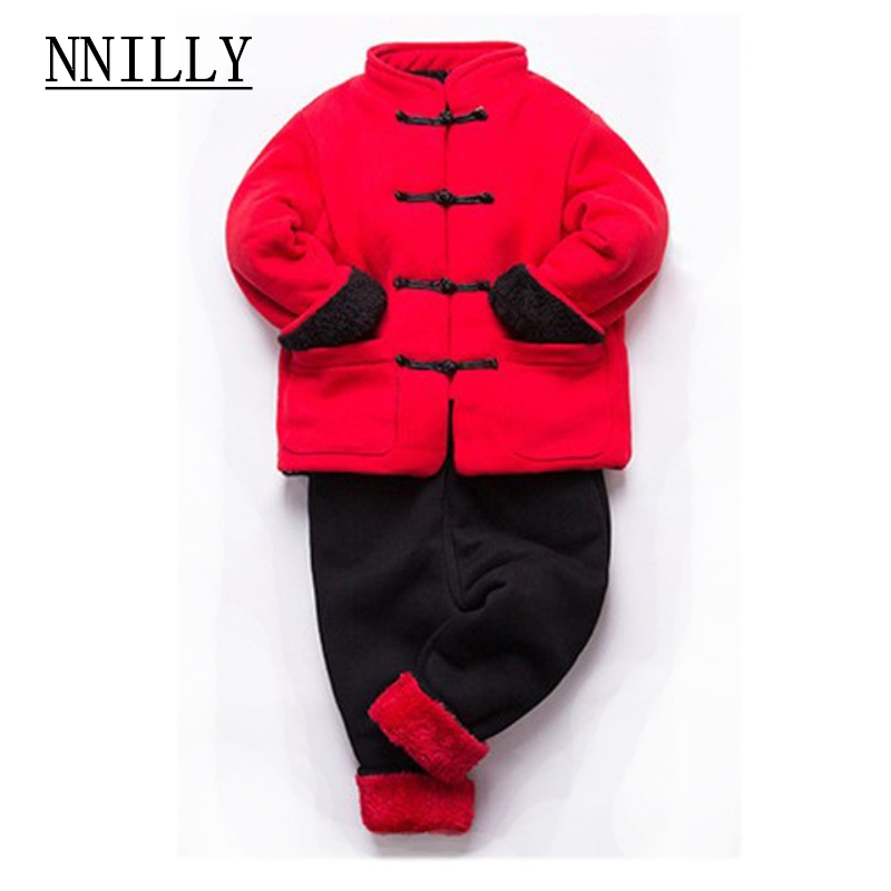 Autumn Winter Baby Girls Clothes Sets Chinese Style coat+Pants Outfits boy coat