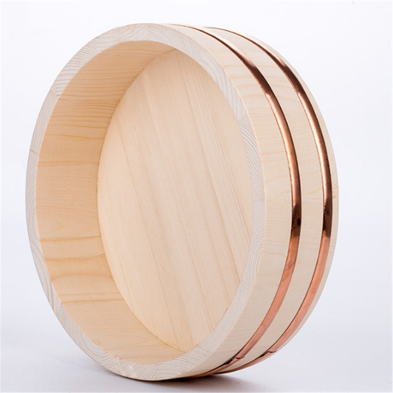 Korean food Japanese style copper edge basin big bowl golden edge sashimi sushi rice dish wooden