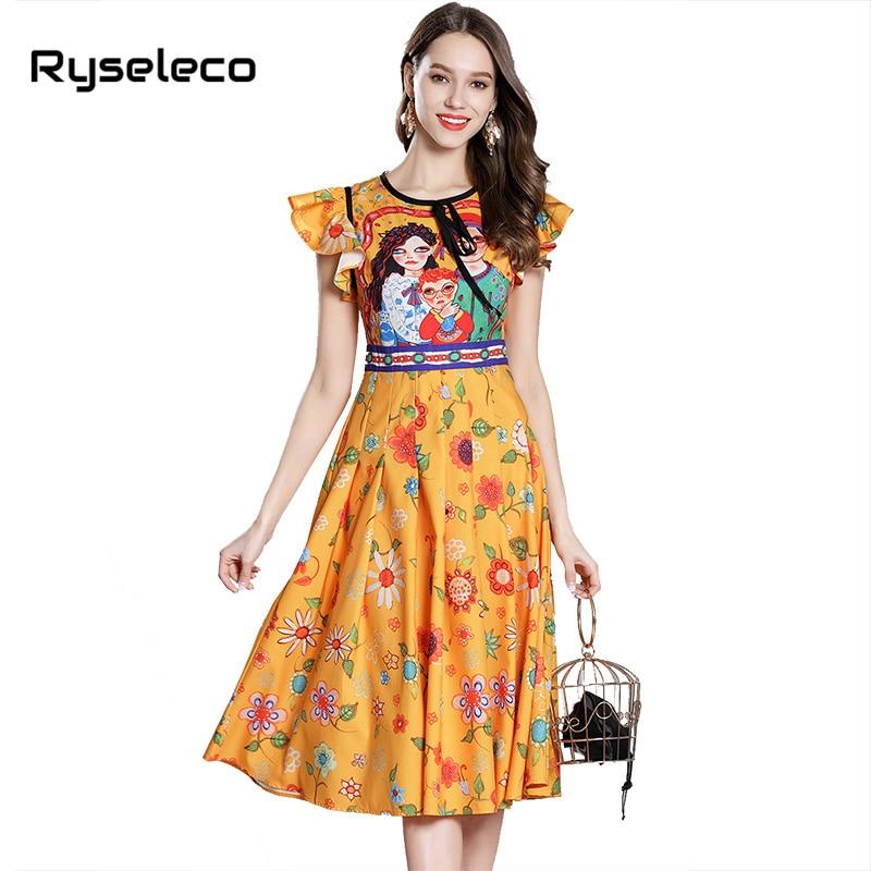 European Runway High Fashion Summer Cartoon Character Prints Ruffles Sleeve High Waist Casual Party Dresses Women Midi Vestidos