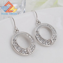 New fashion round earrings Ms. jewelry white K Plating