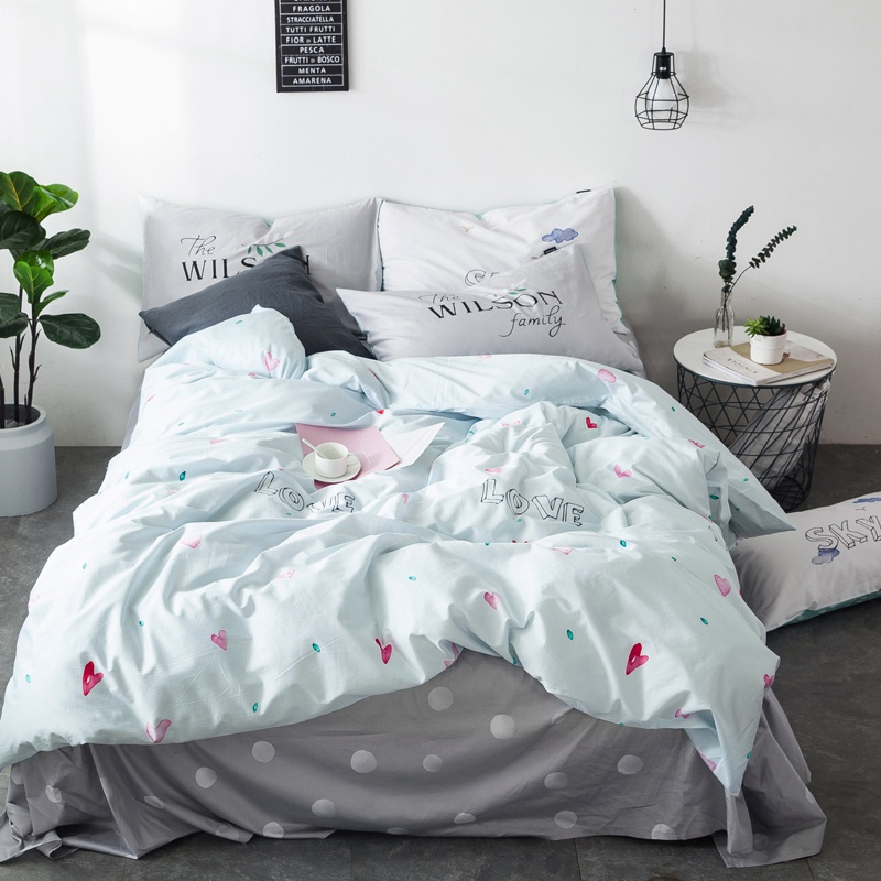 100% high quality brief heart love style princess bedding set cartoon pillows case bedsheet linen duvet cover sets