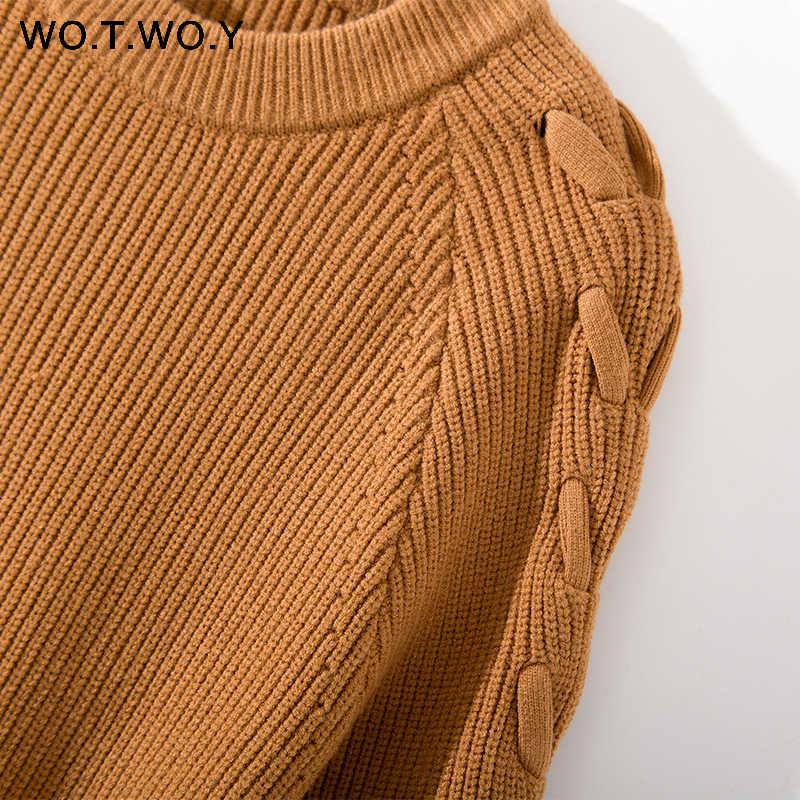 WOTWOY Casual Oansatz Gestrickte Pullover Frauen 2018 Herbst Winter Feste Lange Spitze Up Hülse Pullover Pullover Weibliche Jumper Sexy