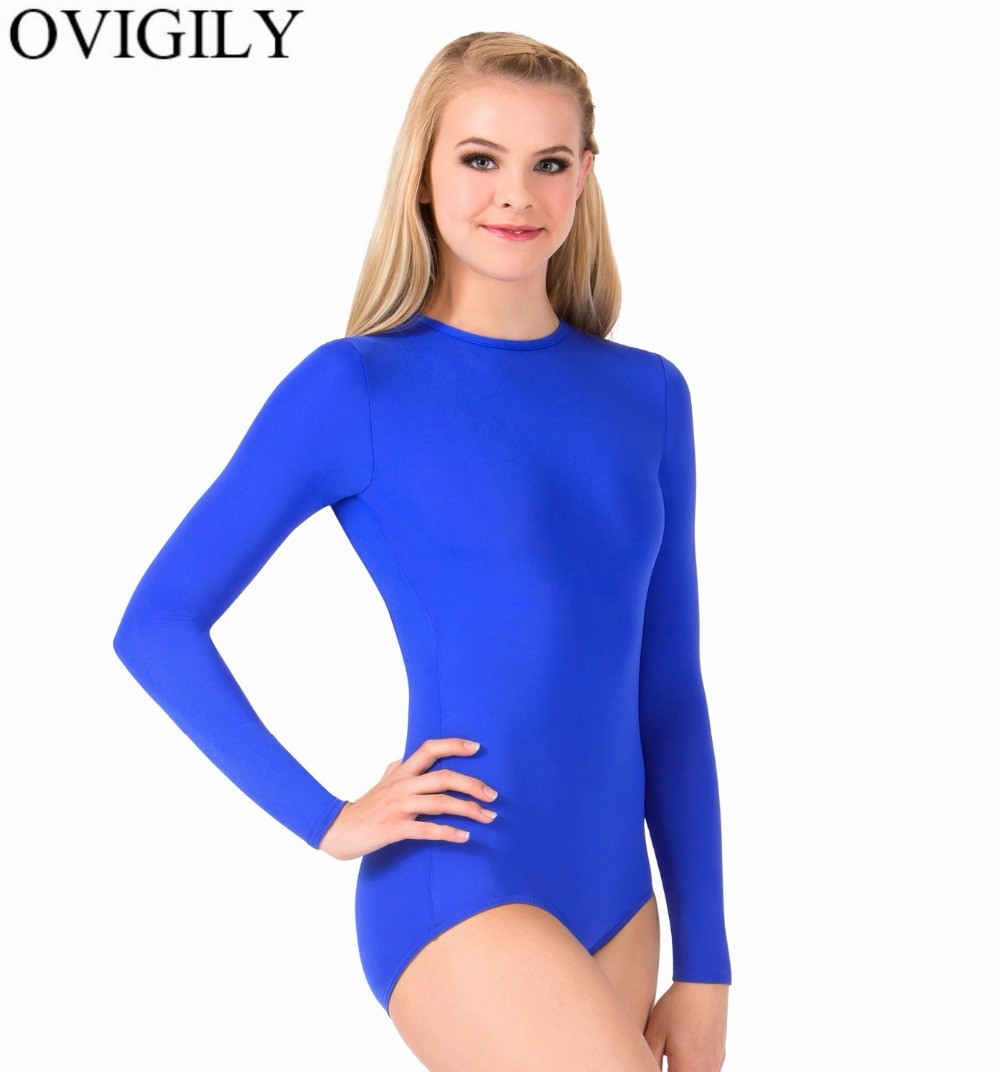 OVIGILY Adults Black Ballet Dance Leotards Crotch Button Womens Crew Neck Long Sleeve Gym Leotard Jumpsuits Basic Tops No Zipper
