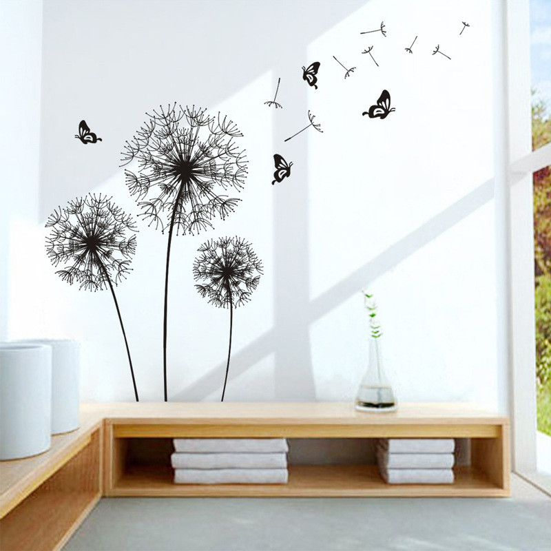 Black wall sticker office dandelion decoration futurama living room decoration poster butterfly sticker on the wall sweet home