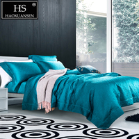 Luxurious Dark Green Geometric Thickened 4pcs Jacquard Bedding Sets Pure Color Nordic Style Bed Linens King Size Double Bed Set
