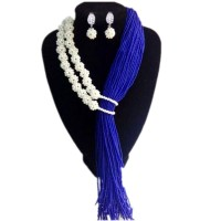white and royal blue Bridal Jewelry Set Earrings Necklace Bracelets Tassel Jewellery Set for African Nigerian Beads Set 2018 New