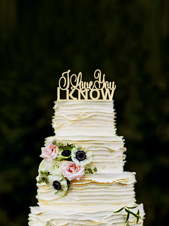 I Love You I Know Wedding Cake Topper Star Wars Inspired Wood Cake Topper Gold Silver Cake Topper