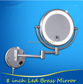 Luxury Led bathroom 360 degree retractable dressing mirror Led cosmetic makeup mirror double faced led mirror