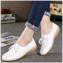 Genuine Leather Women Shoes Cow Muscle Flat Shoes non-slip Casual Lace up Loafers Ladies Moccasins(AMF-961)