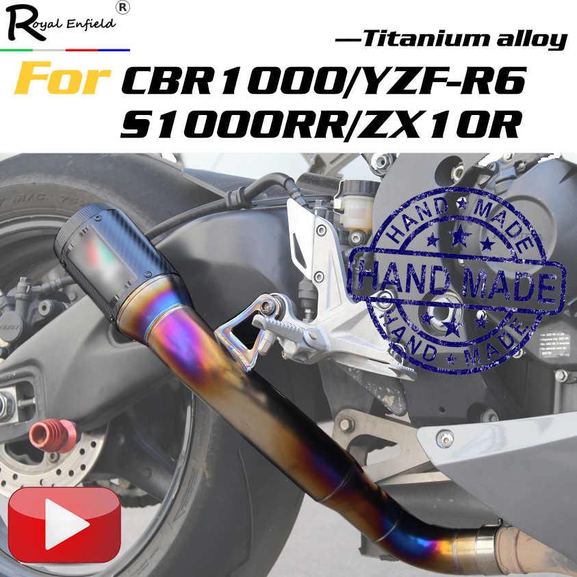 دراجة نارية الانزلاق على العادم الخمار مخصص سبائك التيتانيوم اسكاب لهوندا cbr1000 yzf-r6 s1000rr لكاواساكي zx10r