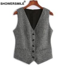 SHOWERSMILE Woolen Suit Vest Womens England Style Waistcoat Plus Size 3XL Spring Autumn Sleeveless Jacket Ladies Gilet