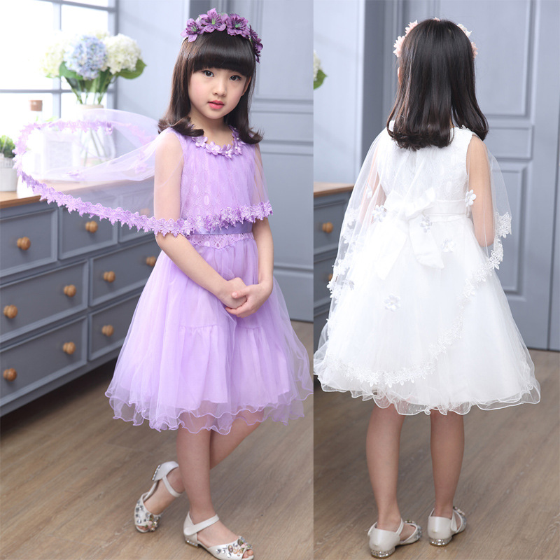 Girls Wedding Dress with Cape Summer 2017 Flower Party Dresses Dance ...
