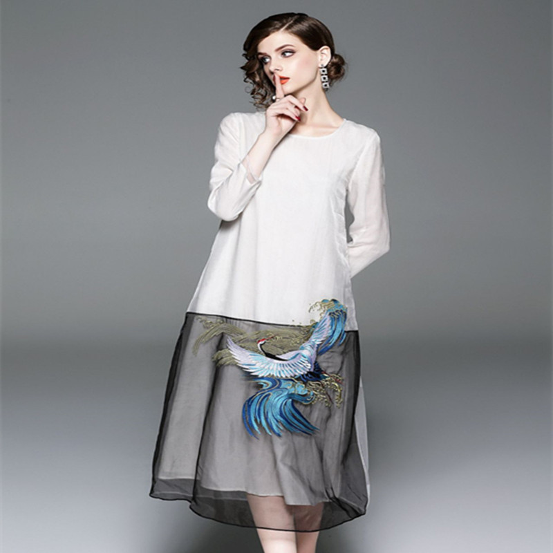 Vintage Couleur Mode Size Automne Femmes Dames Organza Blanc New Noir Patchwork De Verano 2018 Plus Robe Broderie Z8OHwBn4q