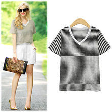 Korean style V-neck striped T-shirt women's casual women shirt plus size fasion T-shirt 5xl 6xl tops Summer Women clothing 2019 casual scoop neck striped twisted t shirt for women