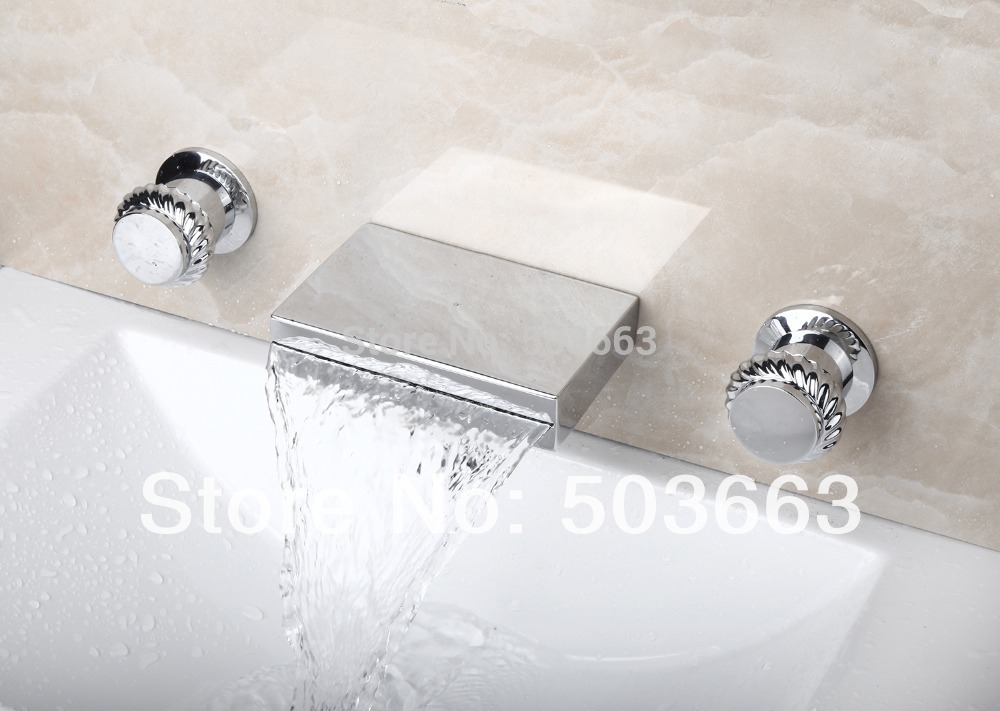 Waterfall Spout 3 Pieces Double Handles Chrome Deck Mount Shower Bathroom Wash Basin Sink Bathtub Torneira Tap Mixer Faucet new arrive dual square handles waterfall spout bathroom sink basin faucet brushed nickel deck mount