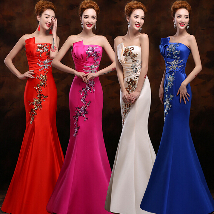 Red Xl Wedding Dress: Ladies Red Blue Long Vintage Mermaid Bridesmaid Women
