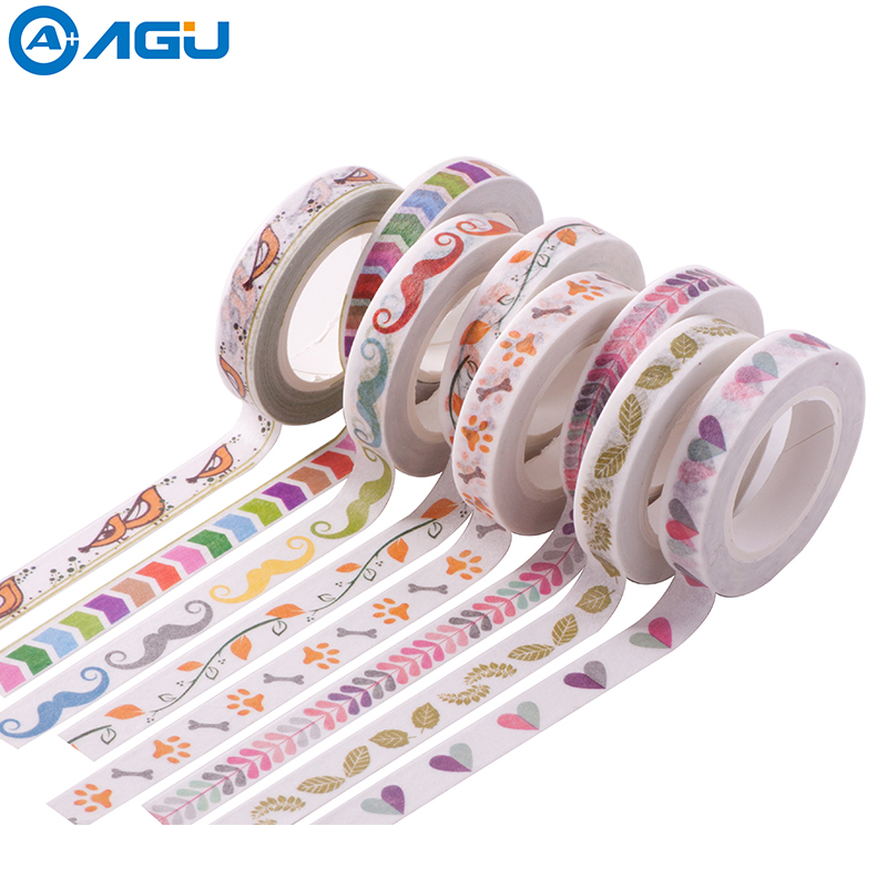 AAGU Fresh Design Leaf Branch Skinny Washi Tape 7 Patterns Planner Scrapbooking Adhesive Tape  Masking Paper Tape Office Supply aagu new arrival 1pc 15mm 10m musical note fresh floral washi tape strawberry sticky adhesive tape various patterns masking tape