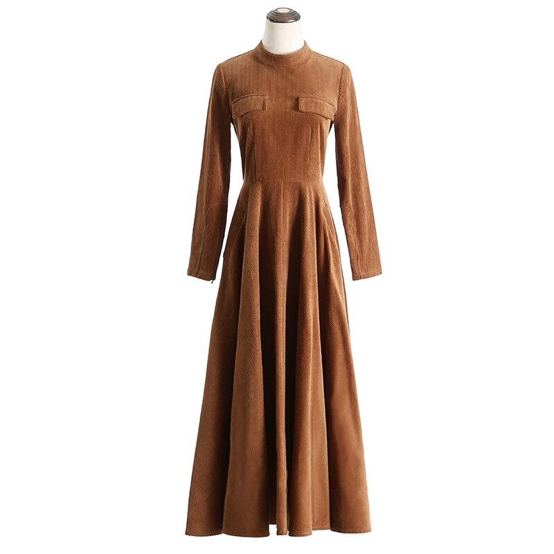 VERRAGEE 2019 automne hiver new vintage femmes mandarin col vert brun robe à manches longues Taille Haute rétro robe maxi élégante - 5