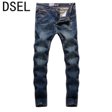 2017 New Dsel Brand Top Quality Hot Sale Fashion Men Jeans Straight Dark Blue Color Printed Jeans Men Ripped Jeans!5001-2C