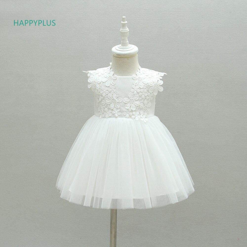 HAPPYPLUS White/Pink Flower Infant Dress Princess Baby Christening Dress Baptism 1st Birthday Wedding Dresses Baby Girl Easter