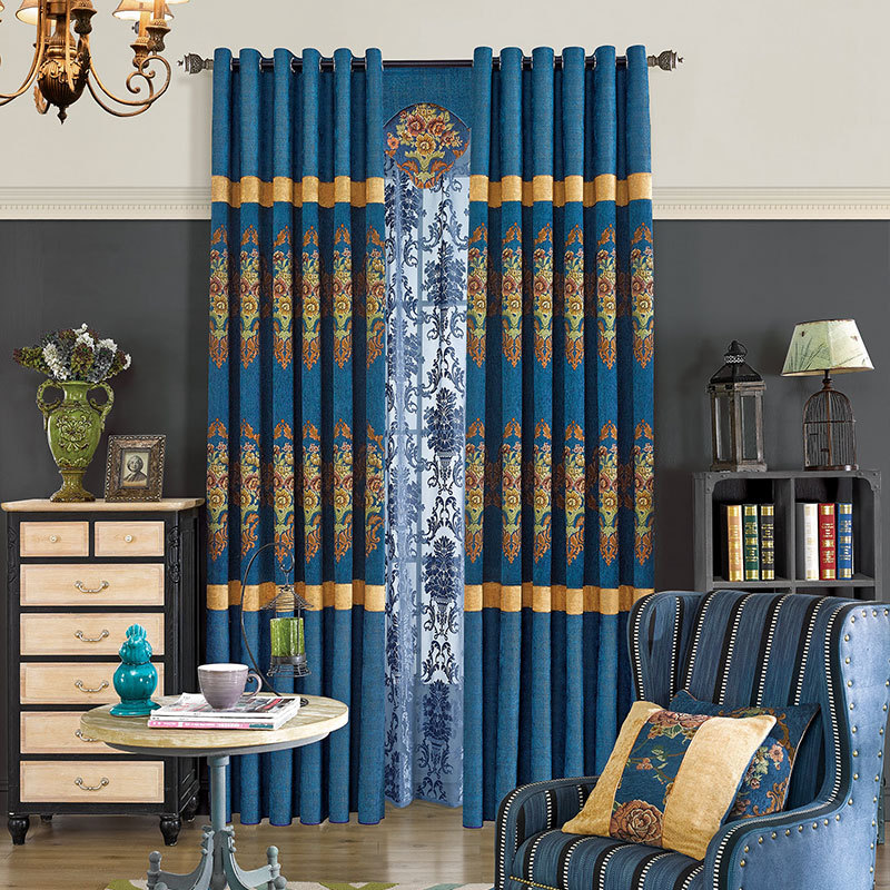 sale jacquard shading curtain splicing finished product curtain window curtain for living