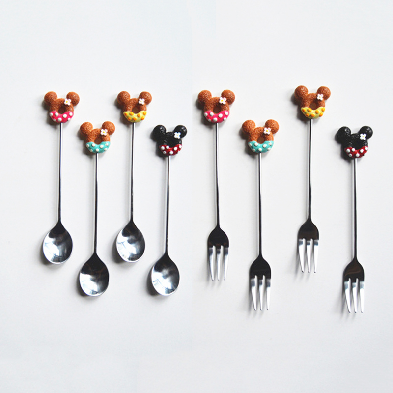 1pc Stainless Steel Cartoon Donuts Coffee Spoon Fork Tea Stirring Spoons Exquisite Kitchen Tableware Gifts Dropshipping