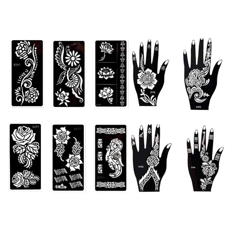 picture about Printable Stencils for Spray Painting named 10 Sheets Non permanent Self-adhesive Tattoo Templates Stencils Stickers for Experience Paint Spray Airbrush Glitter Henna Tattoos