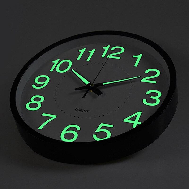 12 Inch Moon Luminous Wall Clocks 2019 New Circular Quartz Clocks Home Decor Bedroom Decor Glowing In The Dark Relogio De Parede