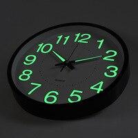 12 дюймов Луна Световой настенные часы 2019 Новый круговой кварцевые домашний декор украшения в спальню Светящиеся в темноте настенные часы