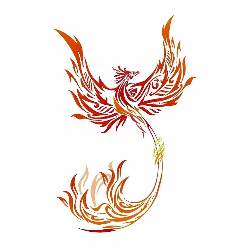 HXMAN Colorful Watercolor Phoenix Dragon Temporary Tattoos for Kids Women Hand Tatoo Sticker Body Art 9.8X6cm A-114 5