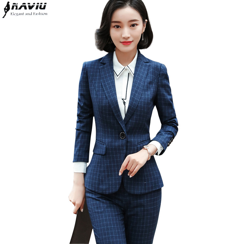 Naviu fashion 2 piece set women clothes 2019 new business slim blazer and pants sets office