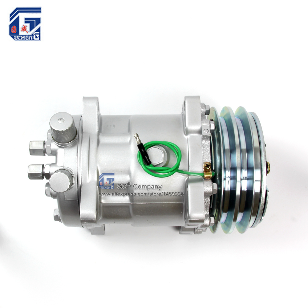 US $73 87  Sanden 508 SD508 5H14 Compressor 12V / 24V 2 Groove V Blet  Pulley Tractor Excavator Heavy Duty Truck Air Conditioning Universal-in