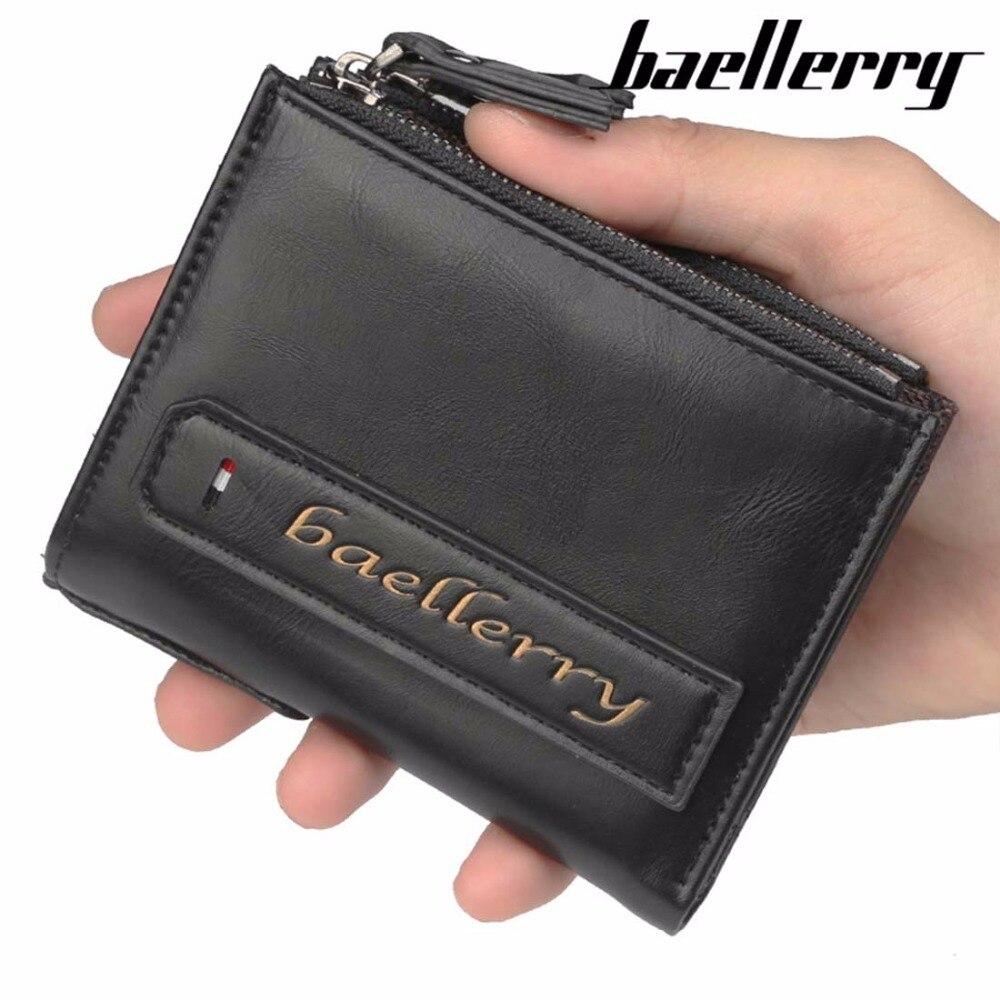 2018 Baellerry Männer Brieftaschen Pu Leder Doppel-reißverschluss Karte Halter Kurze Stil Lässig Note Compartmen Männer Geldbörse Top Qualität