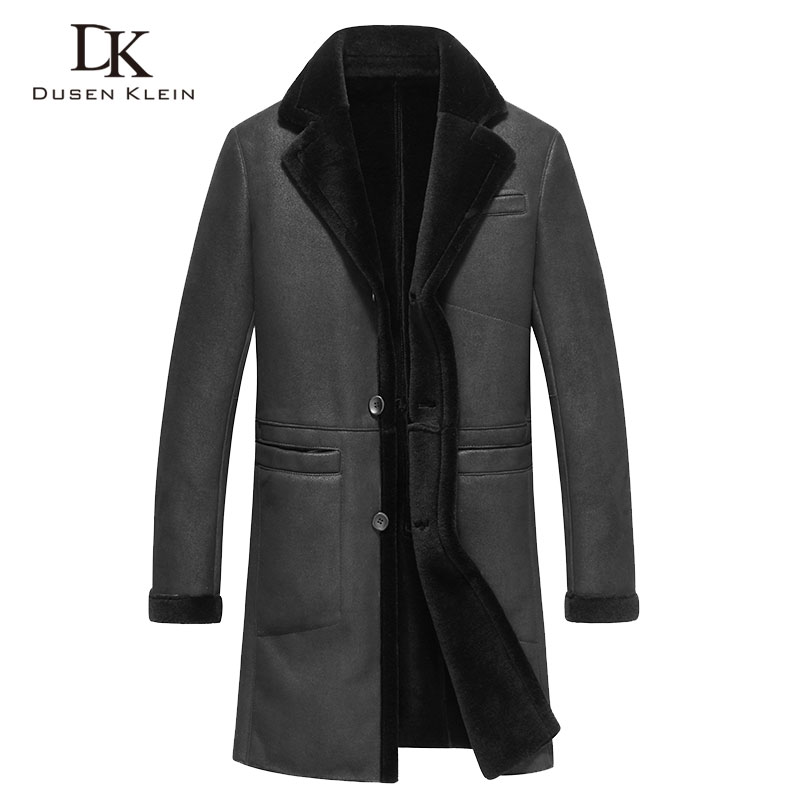 Shearling coats men Genuine sheepskin Dusen Klein 2017 leather Jacket Wool liner long Slim leather coats