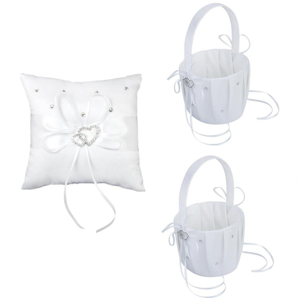 LHBL 2 Pcs White Flower Girl Basket Crystal Rhinestones Decor And 1 Pcs